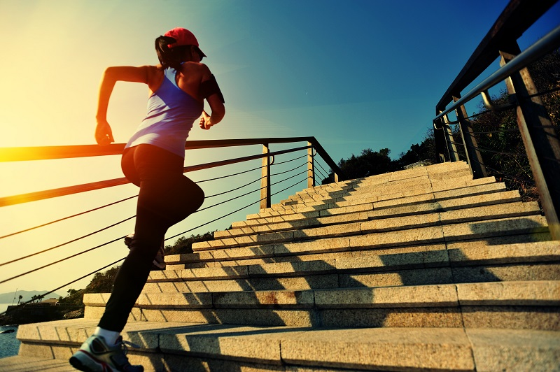 Running up stairs is an example of high intensity training